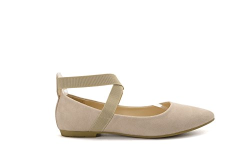 Mila Lady Yvonne Mode Élastique Traversant Cheville Sangles Glisser Sur Les Chaussures Plates À Bout Pointu. Nu