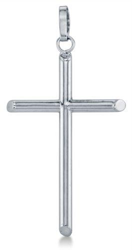 Tube Cross Charm - 14K White Gold Classic Big Large Light Weight Tube Cross Pendant Charm (Height = 1.75