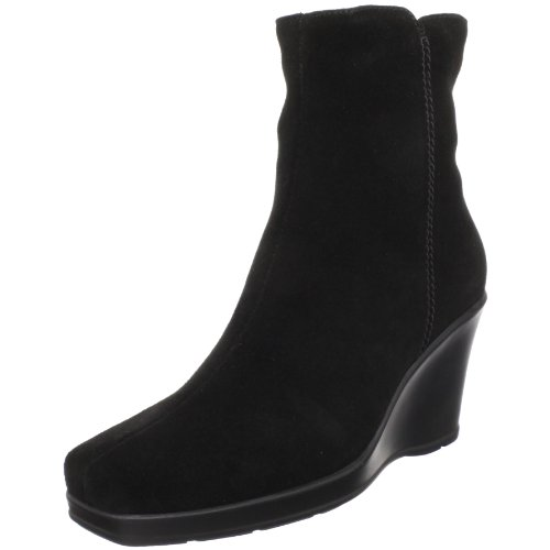 La Canadienne Suede Wedges - La Canadienne Women's Irene Ankle Boot,Black Suede,10 M US