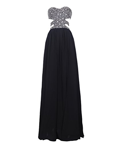 Dresstells® Sweetheart Prom Dress with Beads Long Chiffon Dress for Women Black Size 4