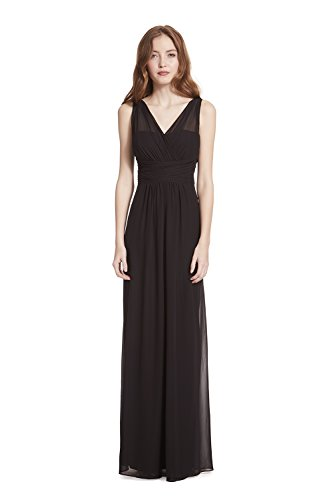Samantha Paige V-Neck Illusion Pleated A-Line Chiffon Formal Dress,Black,10 (Black Chiffon A-line)