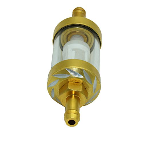 HoganeyVan Universal Metal Glass Inline Gas Oil Fuel Filter Thread E-Bro Motorcycle Fuel Filter for Motorcycle ATV