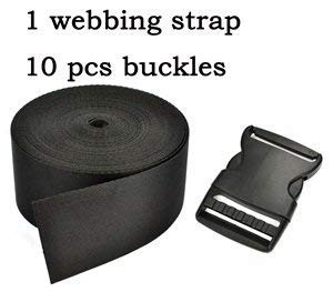 Cosmos ® 2 Inch Wide 10 Yards Black Nylon Heavy Webbing Strap+10 PCS 2