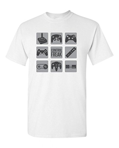 Control Freak Gamer Controller Adult DT T-Shirt Tee (XXXX Large, White)