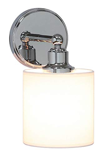 XiNBEi Lighting Wall Light 1 Light Wall Sconce with Drum Fabric Shade in Chrome, Modern Bathroom Vanity Light for Bathroom Bedroom & Living Room XB-W1214-1-CH