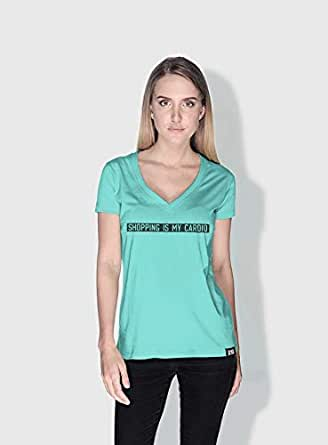 Creo Shopping Is My Cardio Funny T-Shirts For Women - L, Green