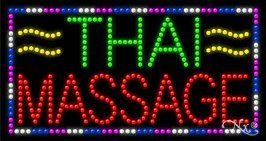 Thai Massage LED Sign - 17 x 32 x 1 inches - Made in USA by Bright Neon Signs