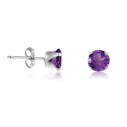 Campton Round Violet Purple CZ .925 Sterling Silver Stud Earrings - Choose Your Size | Model ERRNGS - 13776 | 4mm - Medium (Checkered Pyramid Stud)