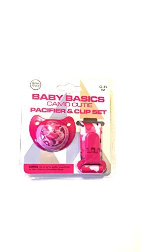 Baby Basics Camo Cutie Pacifier and Clip Set