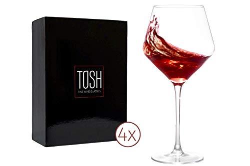 TOSH Wine Glasses Red or white – Large Crystal Glass, Set of 4 -23oz. Long Stem. Drinking Italian Burgundy, Fancy…