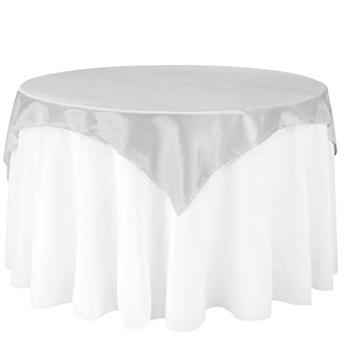 LinenTablecloth 60-Inch Square Satin Overlay Silver ()