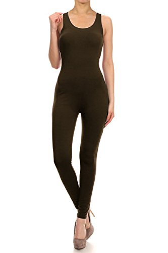 Leggings Depot Premium Quality Jersey Tank Unitard Jumpsuit Romper Gym (Large, Brown)