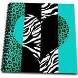 3dRose db_35445_1 Aqua Blue Black and White Animal Print-Leopard and Zebra Heart-Drawing Book, 8 by 8-Inch
