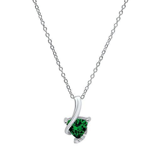 Round Created Emerald Pendant - Sterling Silver 7 MM Trillion Lab Created Emerald & Round Diamond Ladies Pendant