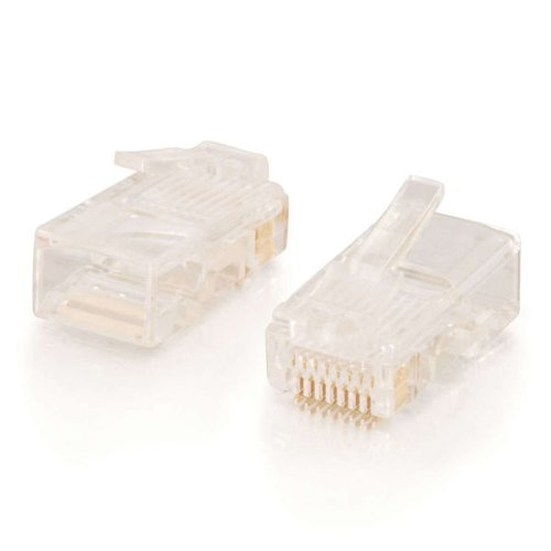 C2G 11380 RJ45 Cat5e Modular Plug for Round Stranded Cable Multipack (50 Pack) TAA Compliant, Clear by C2G