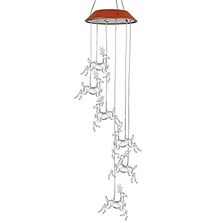 Christmas Elk Norbi Solar Powered Wind Chime Solar Power Wind Mobile Waterproof Led Windchimes for Patio Yard Garden Home Pathway Party Decoration