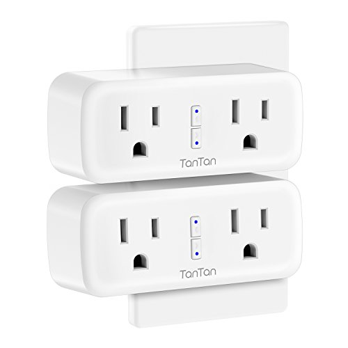 Smart Plug, TanTan [2 in 1] Space-Saving WIFI Mini Smart Outlet Sockets with Energy Monitoring, Work with Amazon Alexa and Google Assistant & IFTTT, Remote Control from Anywhere - 2 Packs