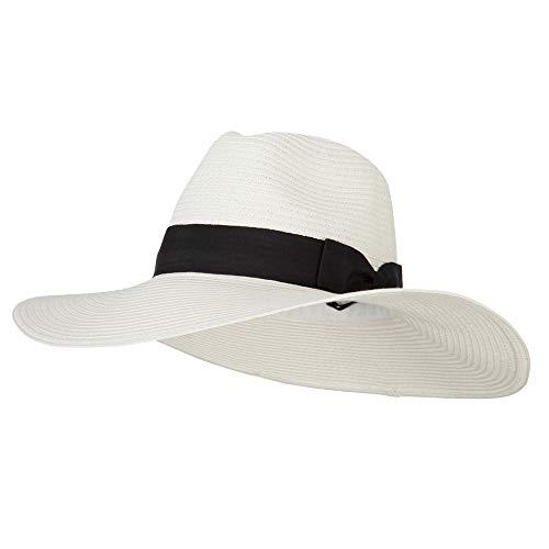 (e4Hats.com Women's Paper Straw Wide Brim Fedora Hat - White OSFM)