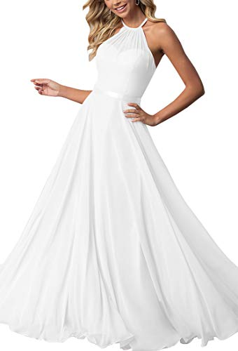 Bridesmaid Dresses Long Halter Chiffon Aline Prom Formal Wedding Party Dress Womens White 12 ()