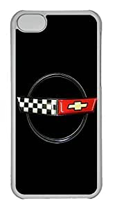 iPhone 5S Case, iPhone 5S Cases - Anti-Scratch Shell White Soft Rubber Case for iPhone 5/5s Chevrolet Corvette New Car Logo 5 Protective Back Bumper Case for iPhone 5/5S
