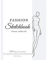 mode skissbok figurmall: 430 stor kvinnlig figur mall för att snabbt och enkelt skissa dina modedesignstilar med professionella tunna linjer med uppåt, framsida, sida, baksida