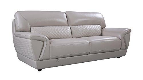 - American Eagle Furniture EK099-LG-SF Bell Mid-Century Modern Italian Leather Living Room Sofa, 85
