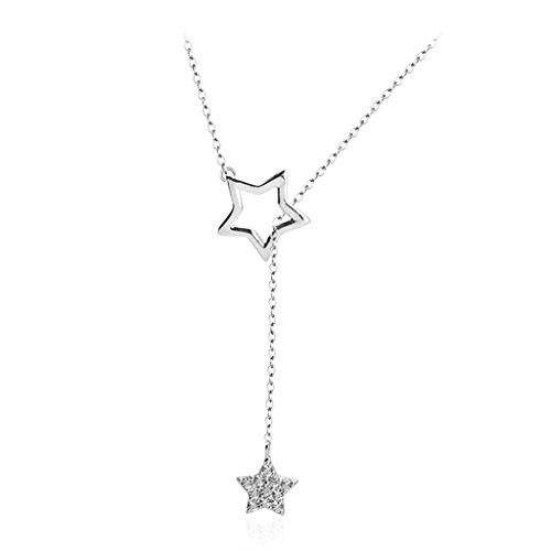 (WCJ Simple 925 Sterling Silver Necklace Pendant Necklace Silver Star Shape Pendant Jewelry)