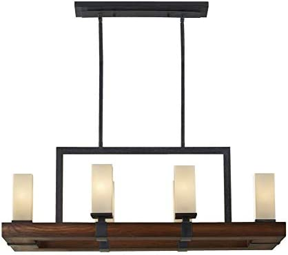Murray Feiss F2592 6AF AGW Madera Collection 6-Light Island Chandelier, Antique Forged Iron and Aged Walnut with Cream Etched Glass, Grecian Bronze