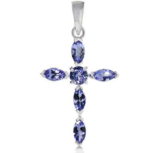 2.21ct. Genuine Tanzanite 925 Sterling Silver Cross Pendant