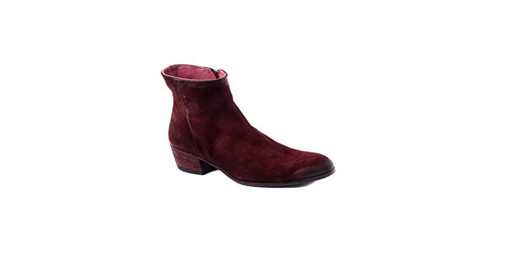 Burgendy Pantanetti Women's Ankle Boot 2 inches Heel in Burgundy Suede