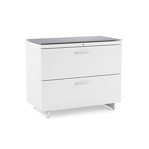BDI Furniture 6416 SW/Gry Centro Lateral Satin White/Grey Etched Glass Finish File Cabinet