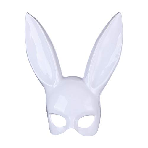 Halloween Bunny Mask, S.Charma Women's Masquerade Rabbit Ears Mask Half Face Masks Halloween Easter Eve Party Costume Accessory (white)