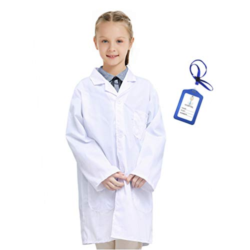 Marosoniy Lab Coat for Kids - Children's Lab Coat for Career Day Scientist Doctors Role Play Costume with Personalized ID Card (Large/10-15Y, White)