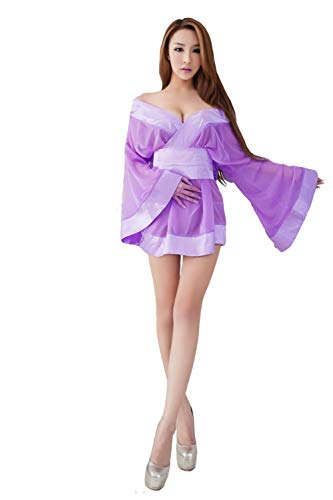 Lingeriecats Sexy Purple Luster Japanese Doll Cosplay Kimono Costume Set (Free Sport Pant)