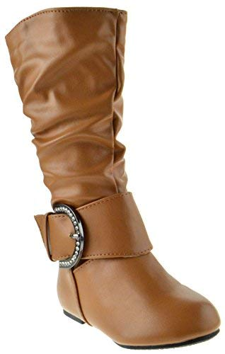 (Bella 66 Little Girls Slouch Mid Calf Boots Tan 8)