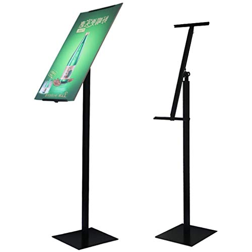 Poster Stand Display Pedestal Sign Holder - Floor Sign Stand with Base, Single Column, Angle Adjustable and Height Adjustable for KT Board & PVC & Foam, Suitable for Indoor, Color Black / White / Gold