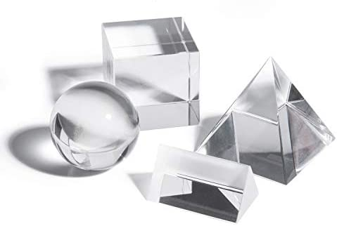 Gonioa 4 Pack K9 Optical Crystal Photography Prism Set Including 50mm Crystal Cube 50mm Triangular Prism 50mm Crystal Ball 60mm Optical Pyramid for Science Physics and Teaching Photo Photography