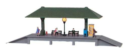 Model Power HO Scale Built-Up Station Platform, Lighted w/Figures