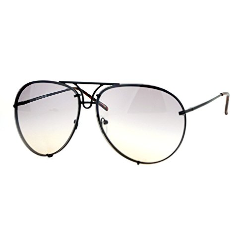 Oversized Round Aviator Sunglasses Metal Rims in Back Black, Smoke Peach - Sunglasses Rim Metal