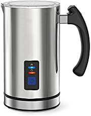 Milk Frother Electric Automatic Milk Steamer for Coffee, Hot Chocolates Cappuccino, Frother Warmer, Automatic Hot and Cold Milk Frother Heater for Latte, Stainless Steel