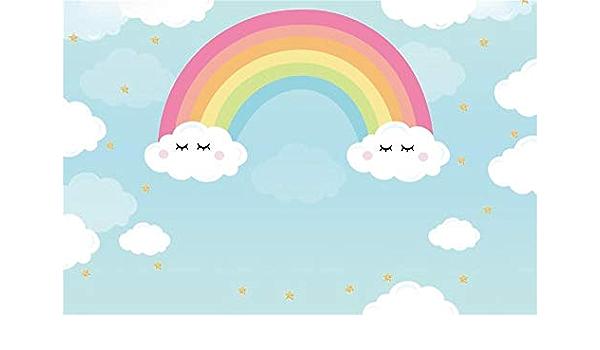 HUAYI 7x5ft Unicorn Birthday Party Cartoon Rainbow Cloud Crown Photography Backdrop Newborn Portrait Background Photo Studio mz-1026