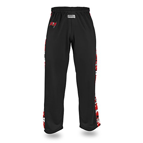 Zubaz NFL Tampa Bay Buccaneers Men's Camo Print Accent Team Logo Stadium Pants, X-Large, Black