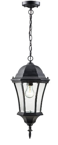 Z-Lite 522CHM-BK Wakefield Outdoor Chain Light, Aluminum Frame, Black Finish and Clear Beveled Shade of Glass Material by Z-Lite (Image #1)
