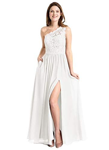 Lace Bodice Wedding Dresses for Women One Shoulder Wedding Guest Dress with Slit Size 10 Ivory