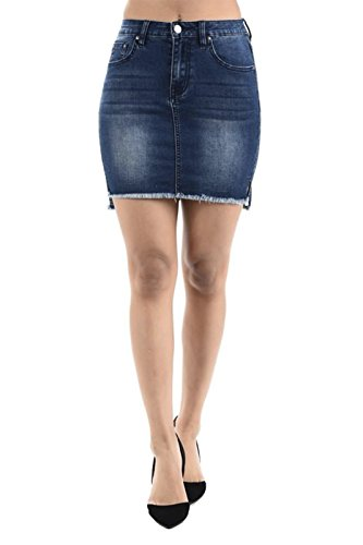 TwiinSisters Women's Destoryed Hem Frayed Side Lace-up Denim Skirts with Back Pockets Size Small to 3X …