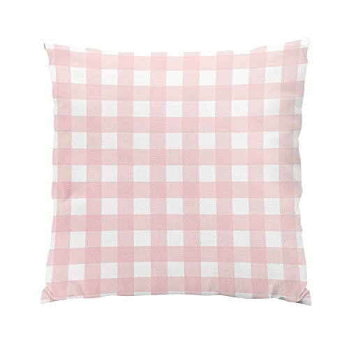 (Suike Rose Quartz Pink White Gingham Check Fancy Hidden Zipper Home Sofa Decorative Throw Pillow Cover Cushion Case Square 16x16 Inch Two Sides Design Printed Pillowcase)