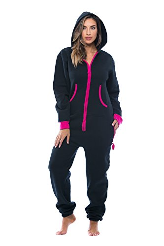 - #followme 6438-BLK-XL Adult Onesie Pajamas Jumpsuit Black/Fuchsia