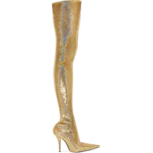 (Metallic Gold Silver Women's Over-The-Knee Boots Fall and Winter Fashion Sexy Super high Heel Pointed Female high)
