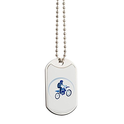 - Dog Tags Motocross MX Flying Dirt Bike in Blue