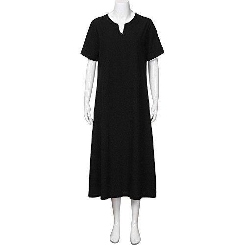 Cuello Suelto v Algodón Talla Blusa Vestido Corta Dormir Grande QinMM con Negro Mujer Camisón de para Manga en 75vtq